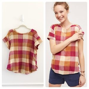 Anthropologie Isabella Sinclair Posy Plaid Top